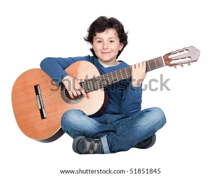 Music student playing the guitar isolated on a over white background