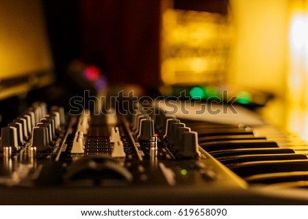 music studio for dj producers with synthesizers  #619658090