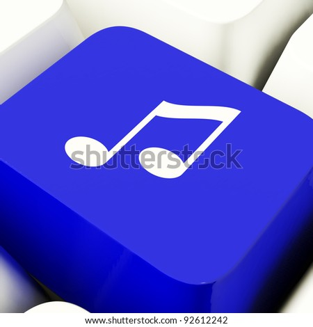 Music Symbol Computer Key In Blue Showing Online Radio Channels Or Audio