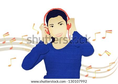 Music. Woman listening to music on headphones enjoying a dance.