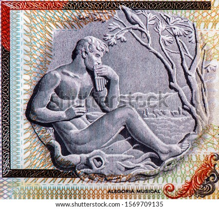Musical allegory - man playing a pan flute, work by sculptor Edmundo Prati. Portrait from Uruguay 100 Pesos Uruguayos 2003 Banknotes. Uruguay money. Uruguay, banknote.  Collection.