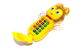 Musical baby toy phone on a white background . The toy runs on batteries