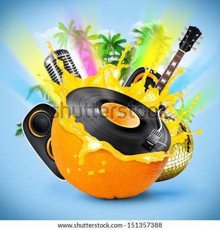 Musical background with a vinyl disc and orange. Tropical patry - stock photo