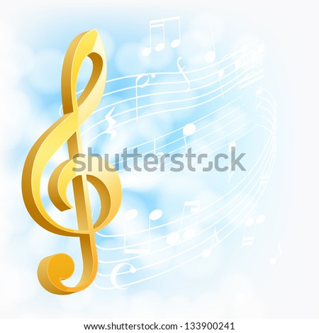 musical background with golden key and notes