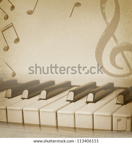 musical background with piano and musical notes