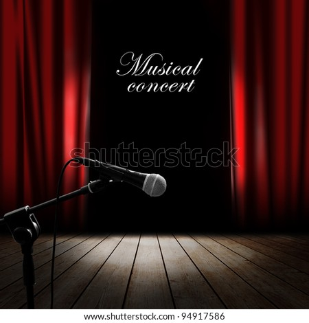 Musical background with red curtain