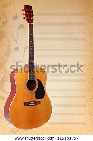 musical background with whole guitar and musical notes