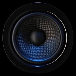 Musical bass loudspeaker dynamic with blue lighting