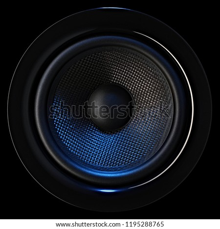 Musical bass loudspeaker dynamic with blue lighting