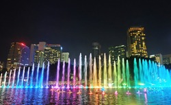 Musical Colorful water fountain dancing show in night city at Kuala lumper Malaysia