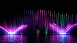 Musical fountain with laser animations. Fountain Roshen.