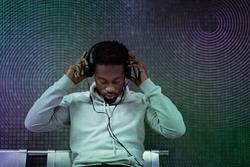 Musical gadget innovation man wearing headphone entertainment technology remixed media