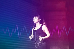 Musical gadget innovation woman jogging with earphones entertainment technology remixed media