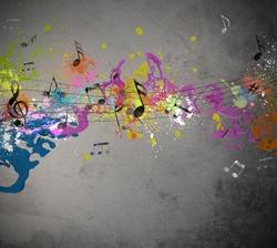 Musical grunge with spray background