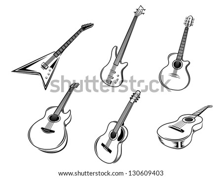 Musical guitars instruments isolated on white background. Vector version also available in gallery