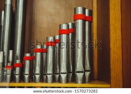 Musical instrument device organ, organ tubes close-up