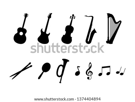 Musical instrument icon set. Music icons set isolated on a white background. Musical instruments clip art