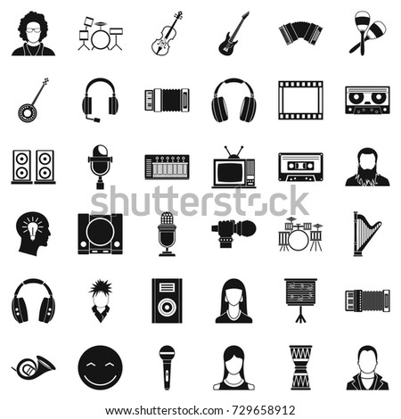 Musical instrument icons set. Simple style of 36 musical instrument  icons for web isolated on white background
