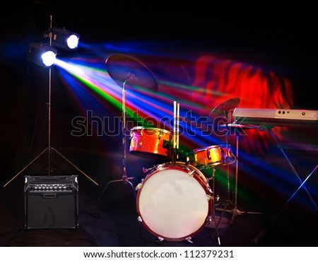 Musical instrument on stage. Concert stage.