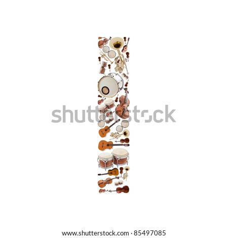 Musical instruments alphabet on white background. Letter I