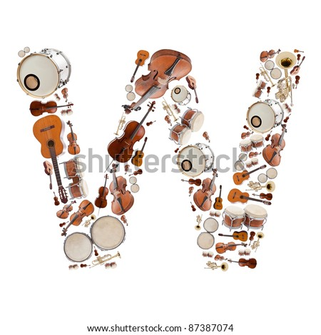 Musical instruments alphabet on white background. Letter W