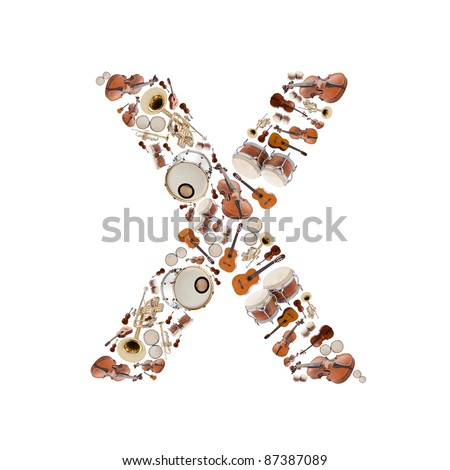 Musical instruments alphabet on white background. Letter X