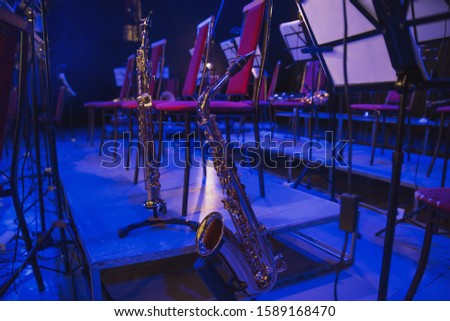 Musical instruments before the concert of the Symphony orchestra
