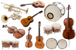 Musical instruments collection on white background
