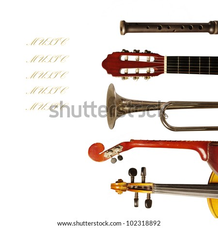 Musical instruments collection on white background. Your text