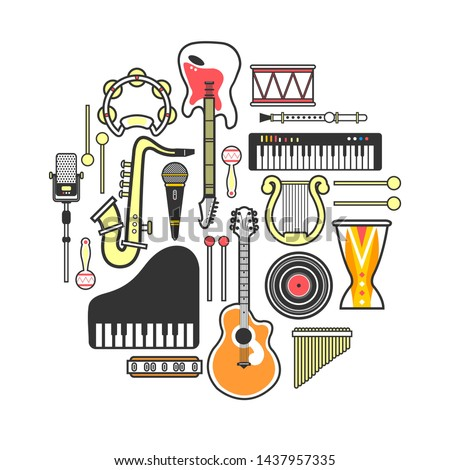 Musical instruments formed in circle isolated  illustration on white background. Electric and acoustic guitars, melodic keyboards, golden saxophone, authentic percussion and modern microphones.
