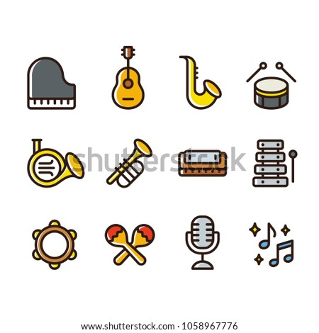 Musical instruments icon set. Simple cartoon style colored line icons. Brass wind instruments, strings and percussion, classical music illustration collection.