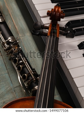 musical instruments in wooden background #1499077106