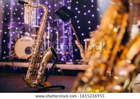 Musical instruments isolated on a party evening