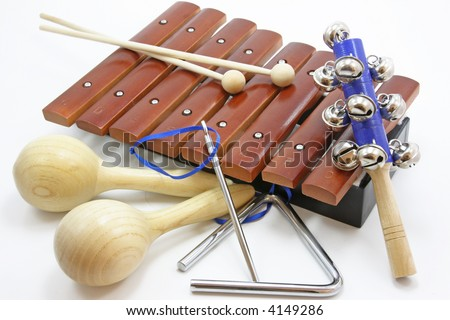 musical instruments laying on a white background