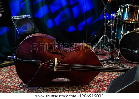 Musical instruments on the stage of the club during the intermission. Selective focus. Stock photo ©