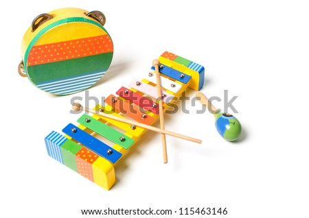 Musical instruments on white background