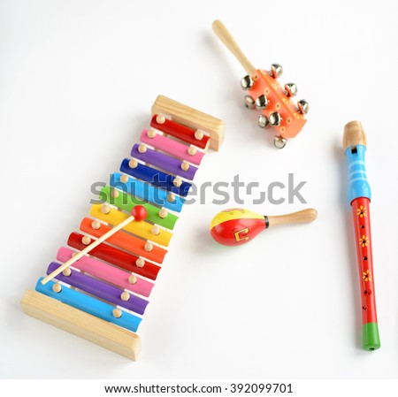 Musical instruments on white background #392099701