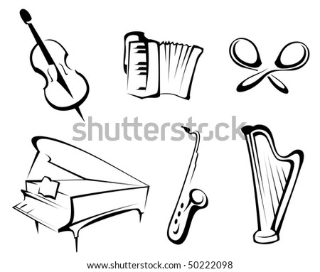 Musical instruments set for design and decorate. Vector version is available