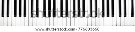 musical keyboard isolated, top view (more than four octaves) #776603668