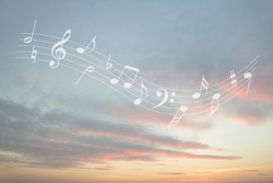 Musical note melody in the sky