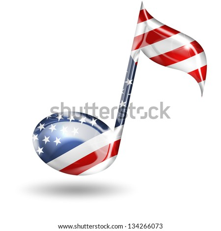 musical note with american flag colors on white background