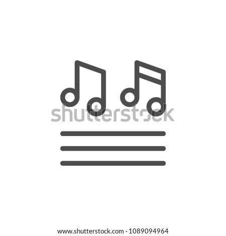 Musical notes line icon isolated on white