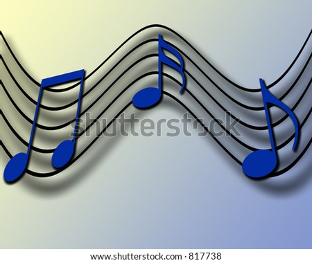 Musical notes on a score sheet with drop shadows and a blue and yellow background