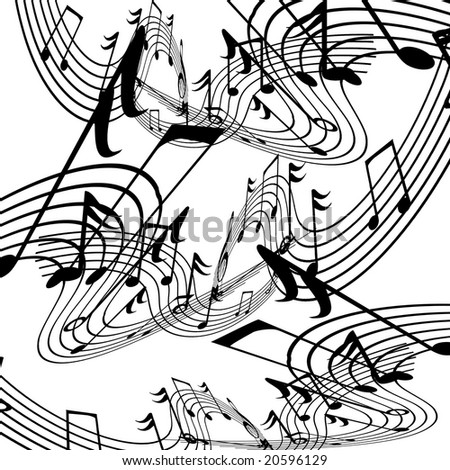 musical notes on a solid white background