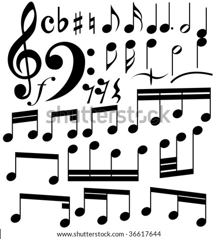 Musical notes set. In my portfolio also available vector version of this picture.