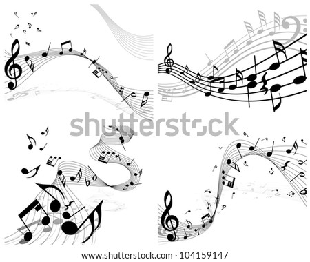 Musical notes staff background set for design use