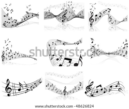 Musical notes staff backgrounds set for design use