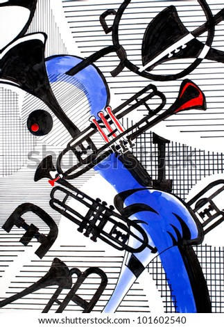 musical theme, original art, markers and ink - stock photo