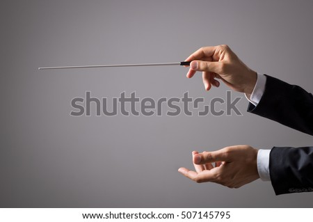 Musician director holding stick isolated on grey background. Close up of orchestra conductor hands holding baton. Music conducting director holding stick.