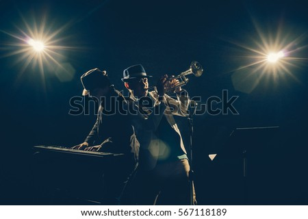 musician duo band playing a...